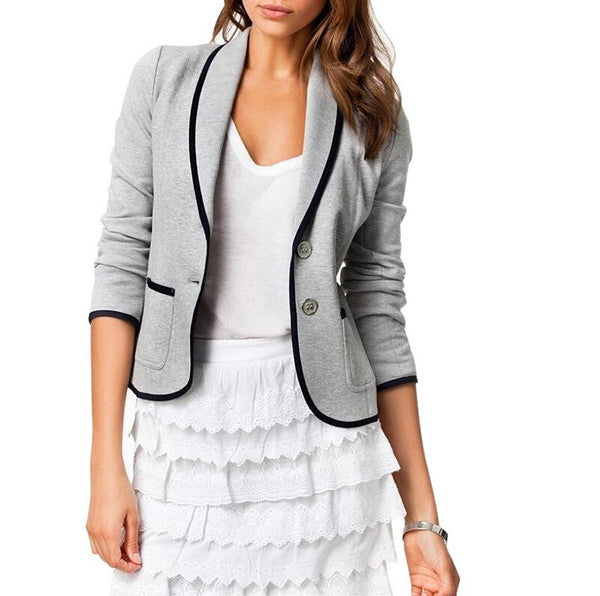 Turn Down Collar Slim Jacket Suit - SINCOS CLOTHING WOMAN ONLINE CHEAP AFTERPAY DRESSES PLUS SIZE GOOGLE FASHION NEW STYLE HOT SEXY PARTY JUMPSUITS TOP TEES SUITS BLAZER JACKETS COATS HOODIES SWEATSHIRTS FLORAL BUSINESS