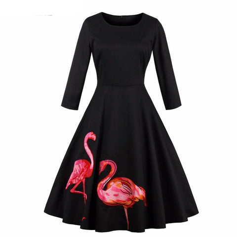 3/4 Flamingo Print Dress - SINCOS CLOTHING WOMAN ONLINE CHEAP AFTERPAY DRESSES PLUS SIZE GOOGLE FASHION NEW STYLE HOT SEXY PARTY JUMPSUITS TOP TEES SUITS BLAZER JACKETS COATS HOODIES SWEATSHIRTS FLORAL BUSINESS