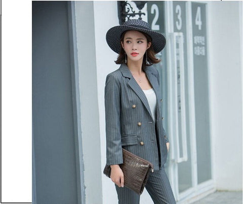 Casual Striped Blazer & Pants - SINCOS CLOTHING WOMAN ONLINE CHEAP AFTERPAY DRESSES PLUS SIZE GOOGLE FASHION NEW STYLE HOT SEXY PARTY JUMPSUITS TOP TEES SUITS BLAZER JACKETS COATS HOODIES SWEATSHIRTS FLORAL BUSINESS