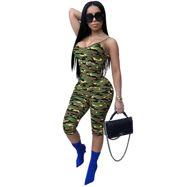 Camouflage Sleeveless Jumpsuit Jumpsuits SINCOS Women Clothing Store Flash Sales