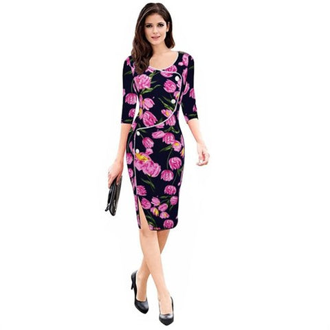 3/4 Sleeved Dress - SINCOS CLOTHING WOMAN ONLINE CHEAP AFTERPAY DRESSES PLUS SIZE GOOGLE FASHION NEW STYLE HOT SEXY PARTY JUMPSUITS TOP TEES SUITS BLAZER JACKETS COATS HOODIES SWEATSHIRTS FLORAL BUSINESS