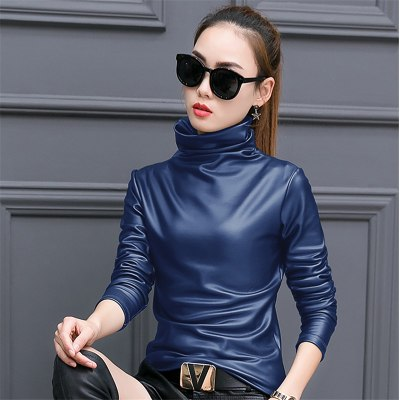 4c78e64c88180 European punk plus size women blouse autumn turtleneck long sleeve tops  shirt ladies velvet stretch camisas