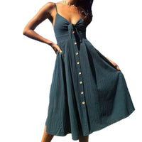 Backless V Neck Button Dresses SINCOS Women Clothing Store Flash Sales