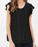 Polka Dot Butterfly Sleeve Blouse - SINCOS CLOTHING WOMAN ONLINE CHEAP AFTERPAY DRESSES PLUS SIZE ZIPPAY WISH ALIEXPRESS GOOGLE