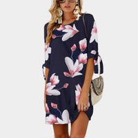 5XL Big Size 2018 New Summer Fashion Women Clothing Casual Vintage Half Sleeve Flower Print Dress Loose Plus Size Straight Dress - SINCOS CLOTHING WOMAN ONLINE CHEAP AFTERPAY DRESSES PLUS SIZE GOOGLE FASHION NEW STYLE HOT SEXY PARTY JUMPSUITS TOP TEES SUITS BLAZER JACKETS COATS HOODIES SWEATSHIRTS FLORAL BUSINESS