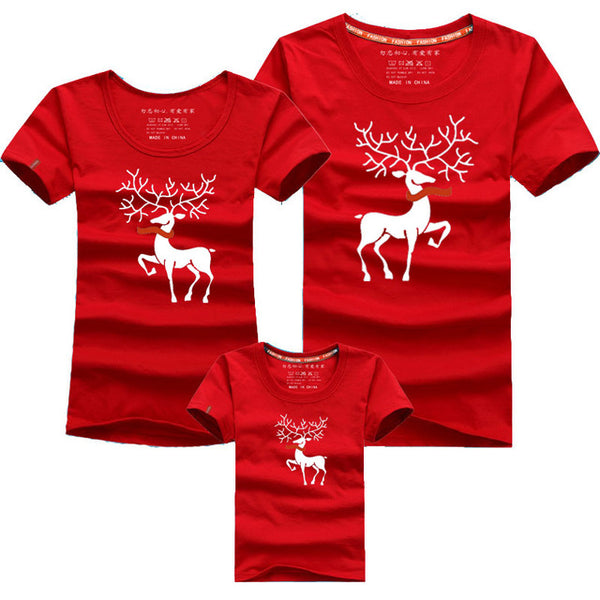 Family Deer Print T-Shirt - SINCOS CLOTHING WOMAN ONLINE CHEAP AFTERPAY DRESSES PLUS SIZE GOOGLE FASHION NEW STYLE HOT SEXY PARTY JUMPSUITS TOP TEES SUITS BLAZER JACKETS COATS HOODIES SWEATSHIRTS FLORAL BUSINESS