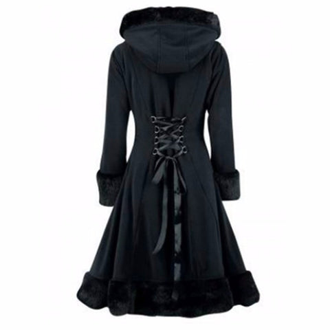 Black Hooded Winter Wool Coat - SINCOS CLOTHING WOMAN ONLINE CHEAP AFTERPAY DRESSES PLUS SIZE ZIPPAY