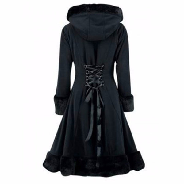 Black Hooded Winter Wool Coat - SINCOS CLOTHING WOMAN ONLINE CHEAP AFTERPAY DRESSES PLUS SIZE GOOGLE FASHION NEW STYLE HOT SEXY PARTY JUMPSUITS TOP TEES SUITS BLAZER JACKETS COATS HOODIES SWEATSHIRTS FLORAL BUSINESS