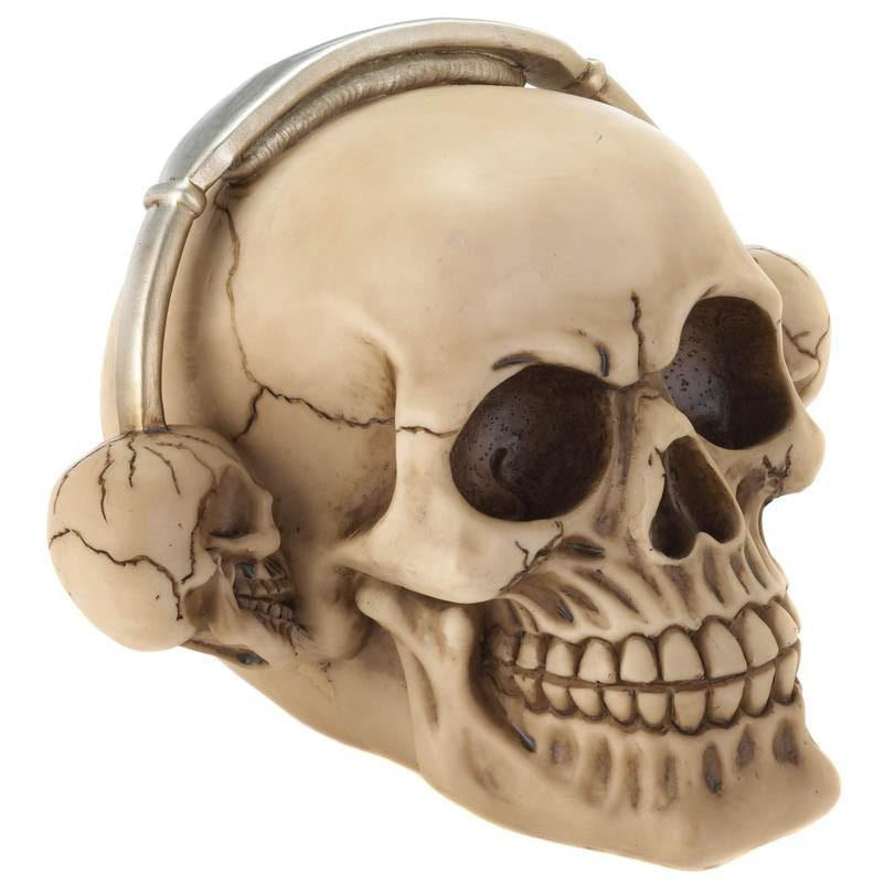 Rockin' Headphone Skull Figurine