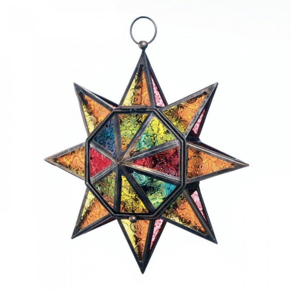 Multi Faceted Colorful Glass Star Lantern