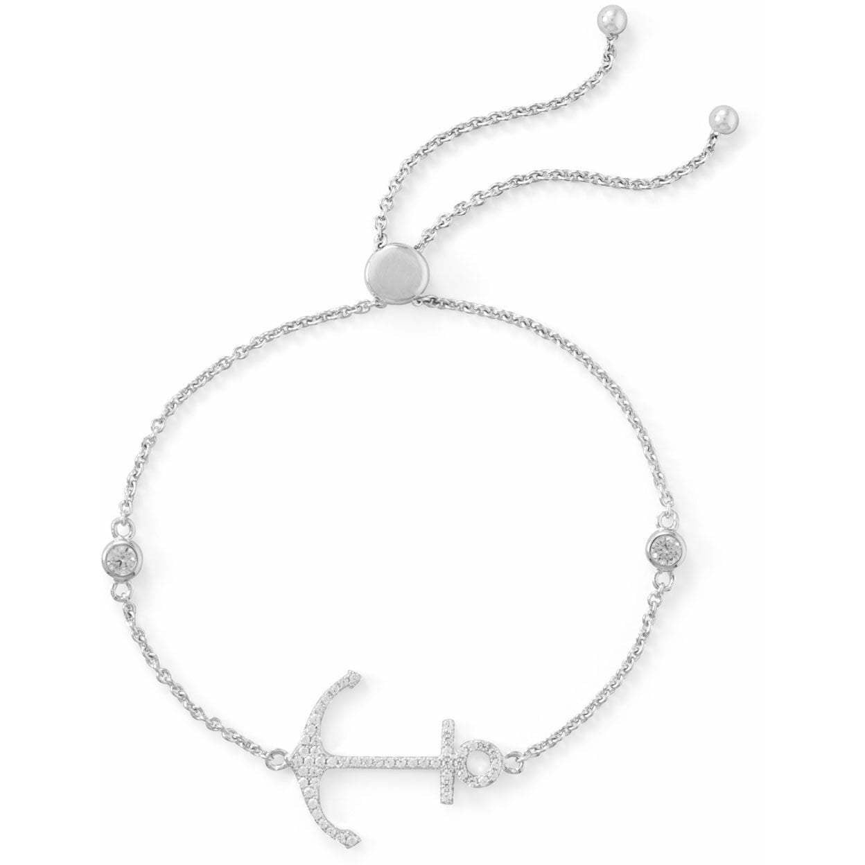 Rhodium Plated cubic zirconia Anchor Friendship Bolo Bracelet