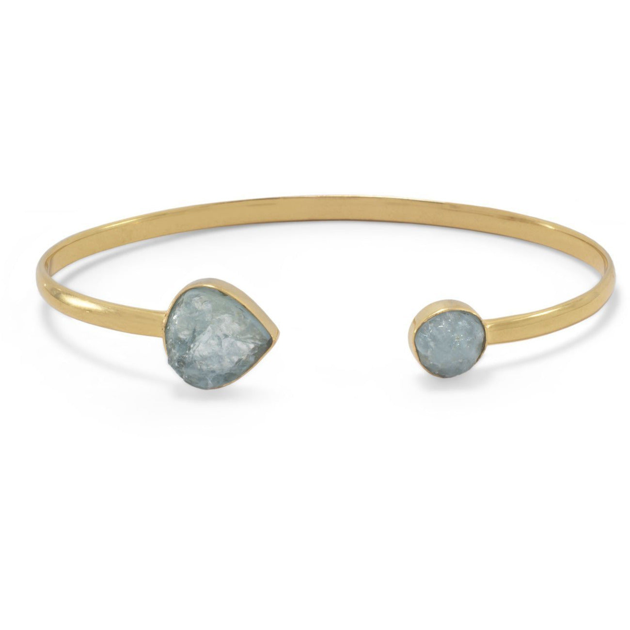14K Gold Plated Aquamarine Open Cuff Bracelet