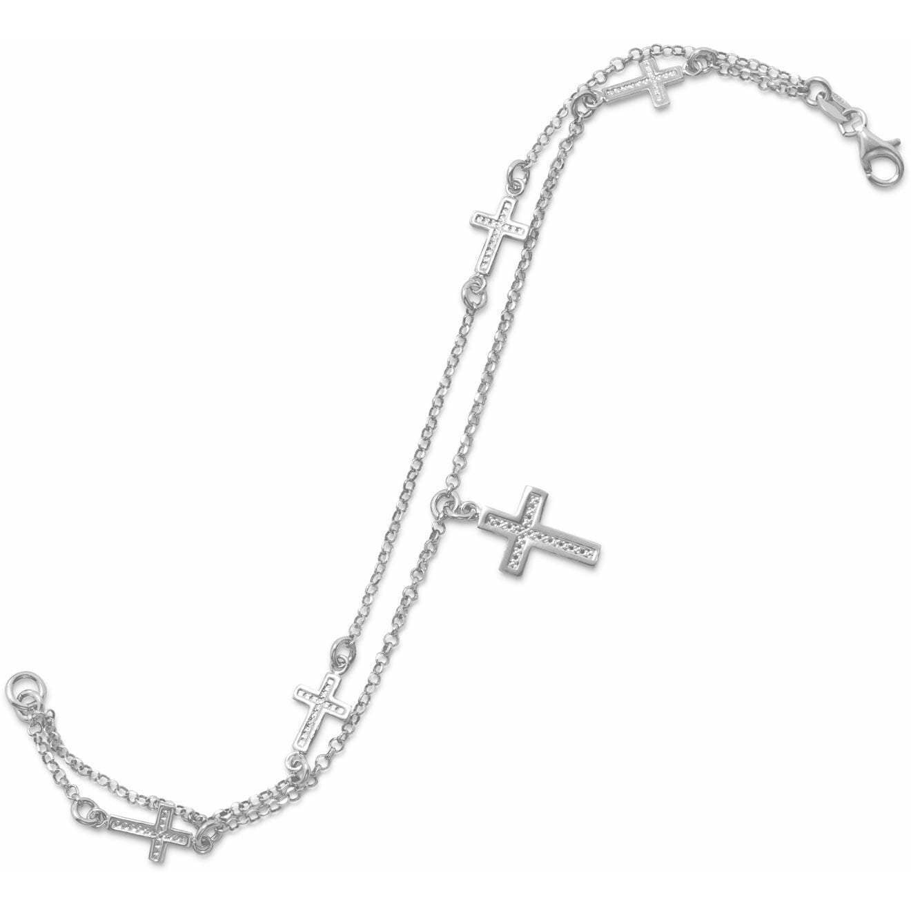 Rhodium Plated Double Strand Cross Charm Bracelet