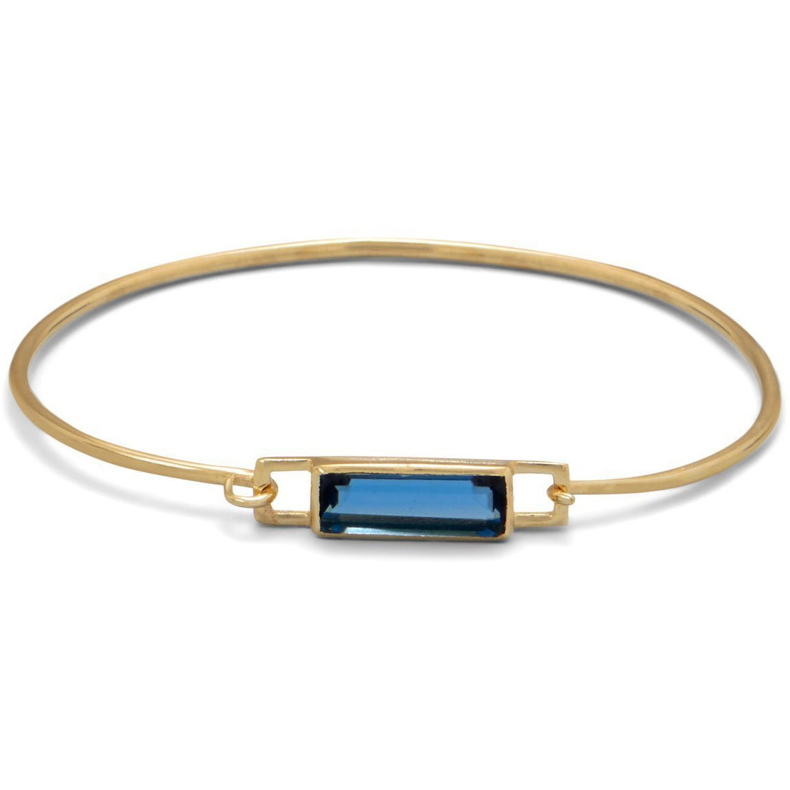 14K Gold Plated Blue Hydro Glass Squeeze Release Bangle