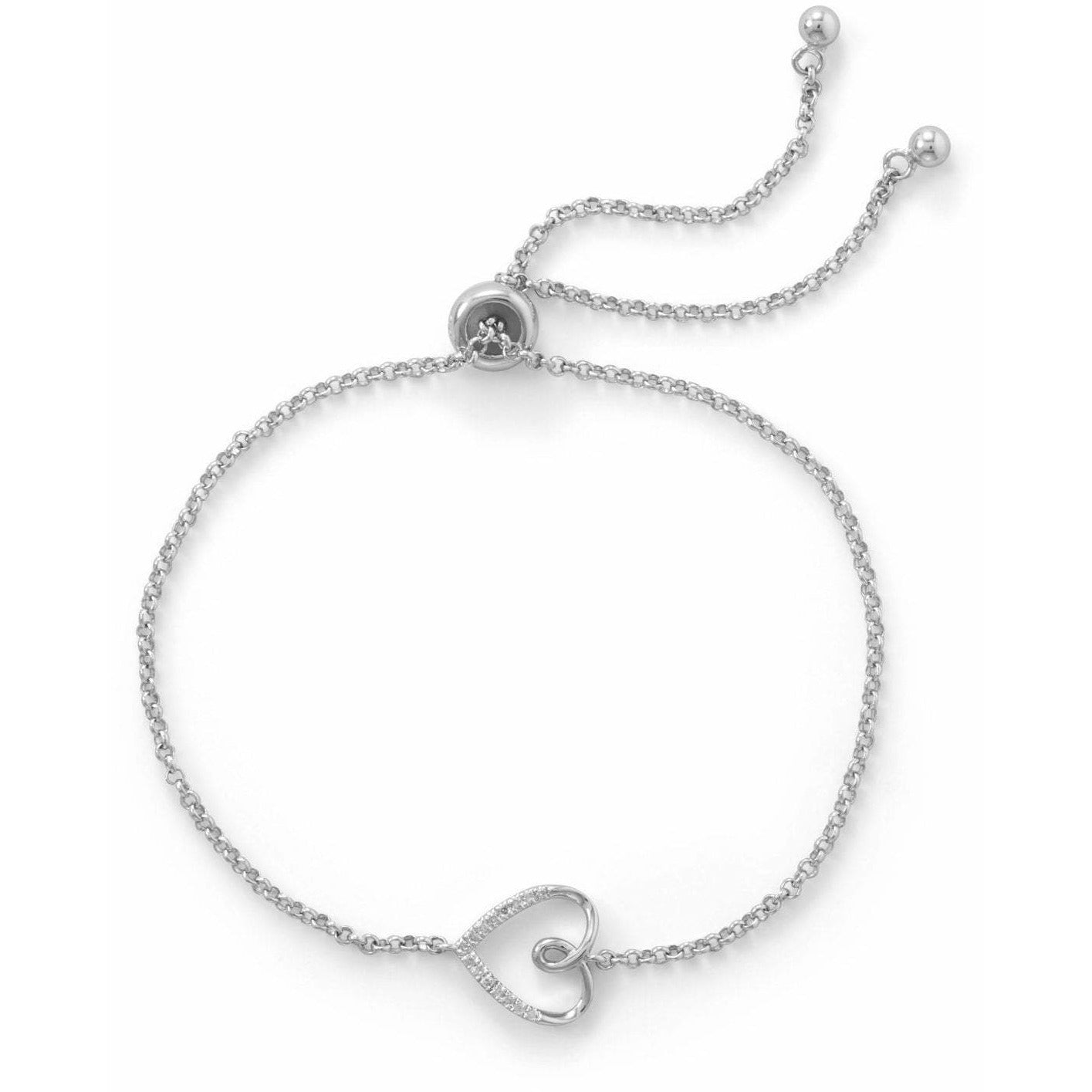 Rhodium Plated Sideways Heart Bolo Bracelet with Diamonds