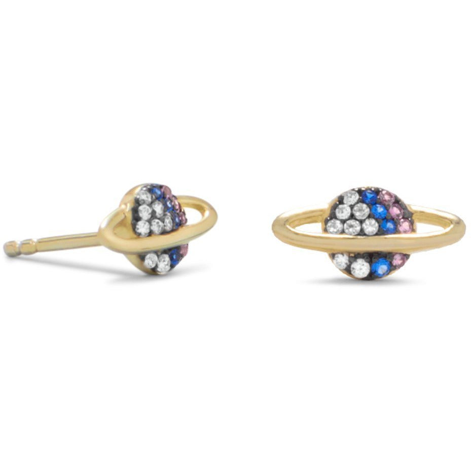 Sterling Silver 14K Gold Plated Petite Planet Stud Earrings