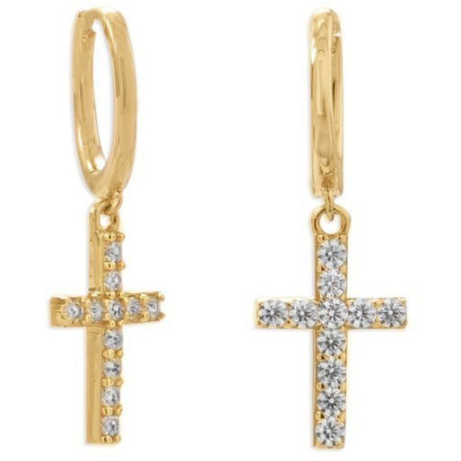 14 Karat Gold Plated Huggie Hoop Earrings with CZ Cross