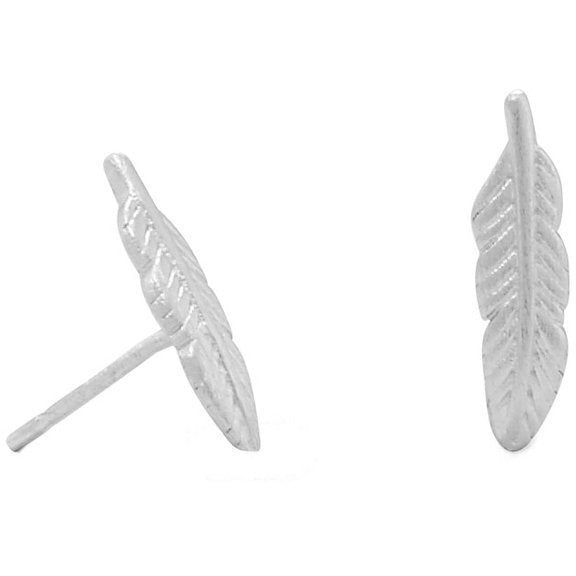 Rhodium Plated Feather Stud Earrings