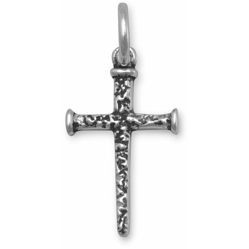 Small Oxidized Cross of Nails Pendant