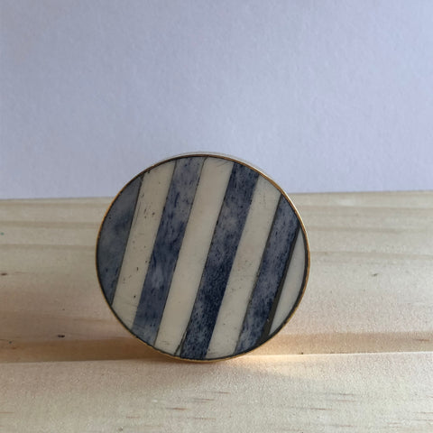 Blue and White Stripe Knob