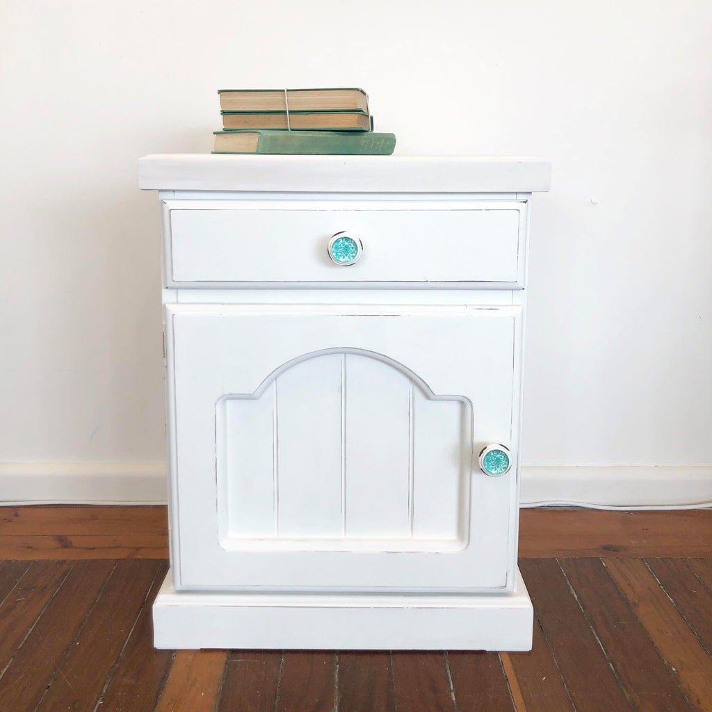 Single White Bedside Table