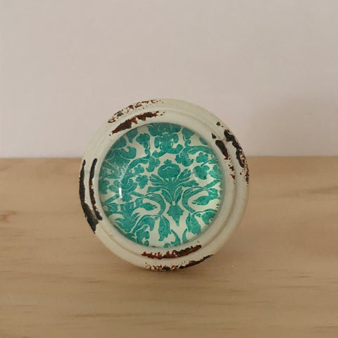 Green Damask Pattern Knob