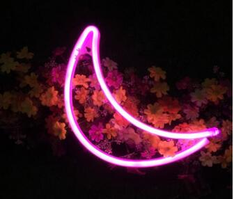 Pink Neon LED Moon for children's room decor