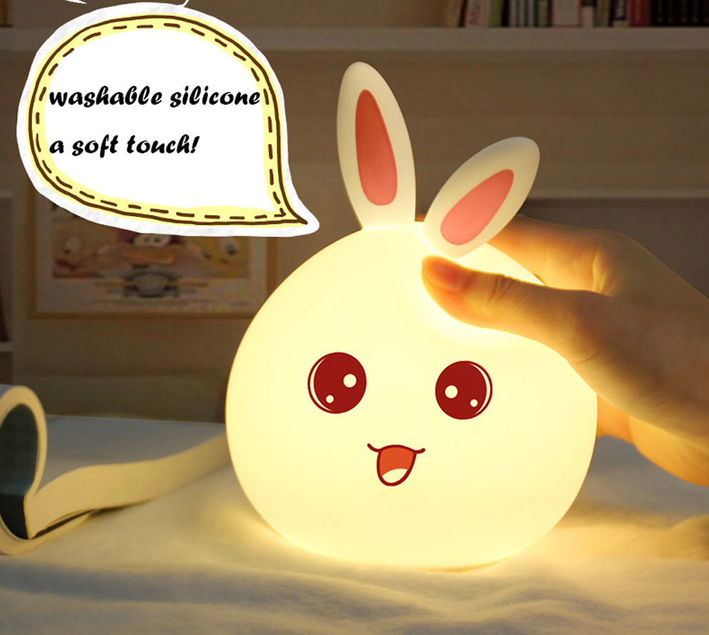 Luminous Multi-coloured USB LED Rabbit Nightlight - Pink ears