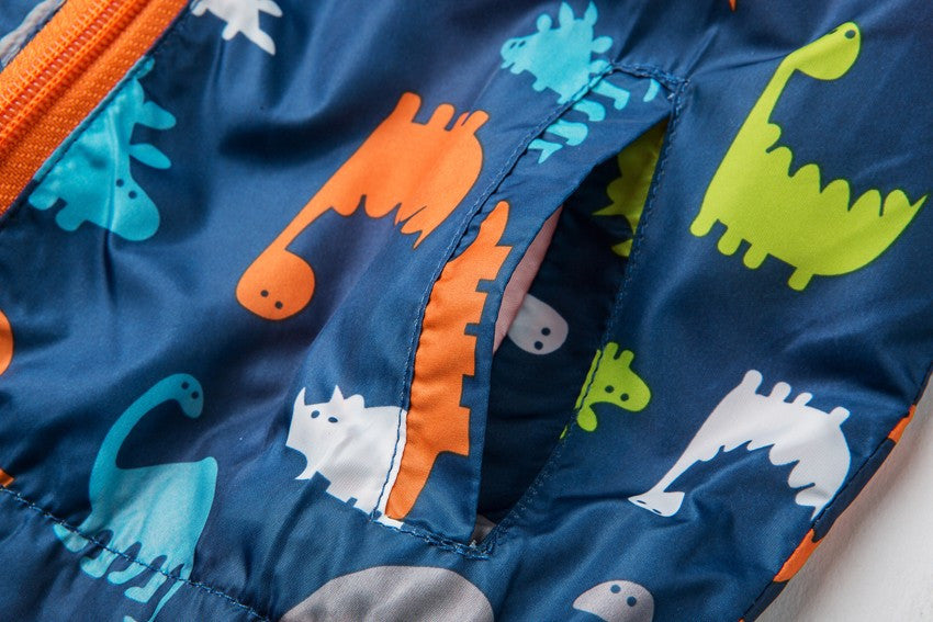 Kid's Hooded Windbreaker Jacket with Dinosaur Print