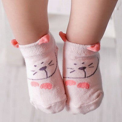 Super-Cute Cartoon Design Cotton Baby Socks - Pink Mouse