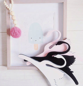 Wooden Clothing Hanger Room Decoration - Black Swan