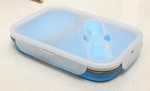 2 Compartment Silicone Collapsible Bento Lunch Box - Blue