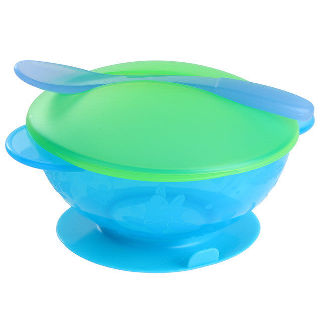 Colourful Suction Bowl and Spoon Set with Lid - Blue-Green