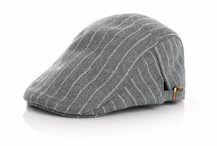 Funky Pinstripe Flat Cap for Toddler - Grey and White