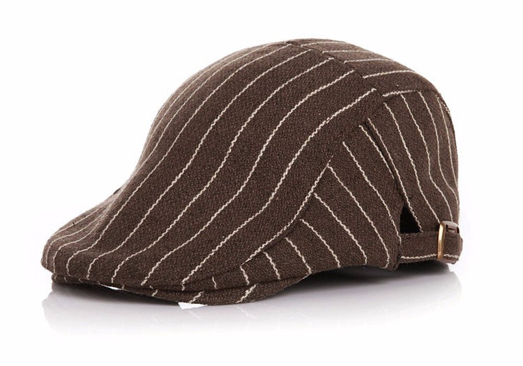 Funky Pinstripe Flat Cap for Toddler - Coffee and White
