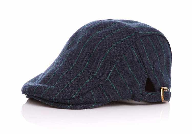 Funky Pinstripe Flat Cap for Toddler - Navy and Green