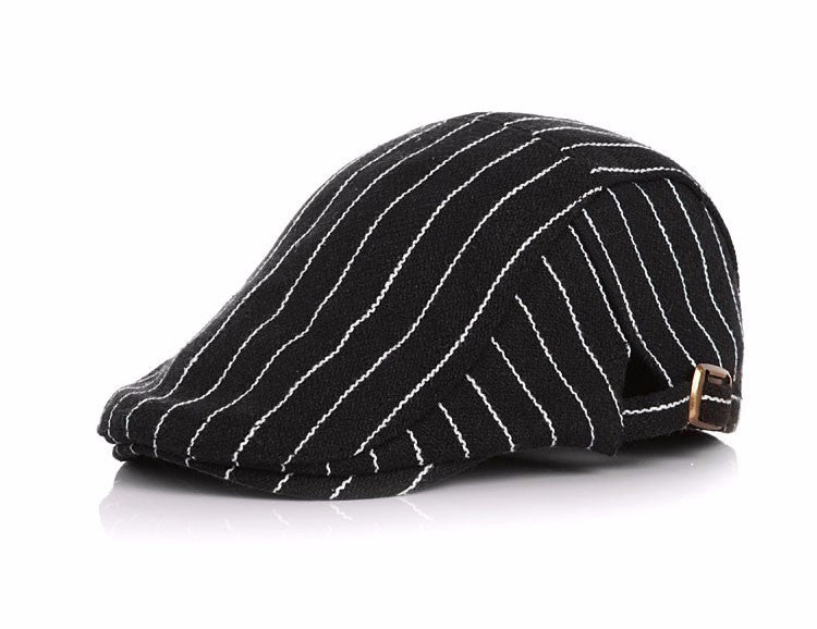 Funky Pinstripe Flat Cap for Toddler - Black and White