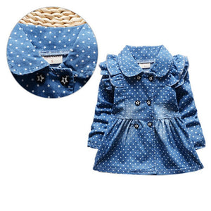 Denim Vintage Style Dress with Ruffled Sleeve