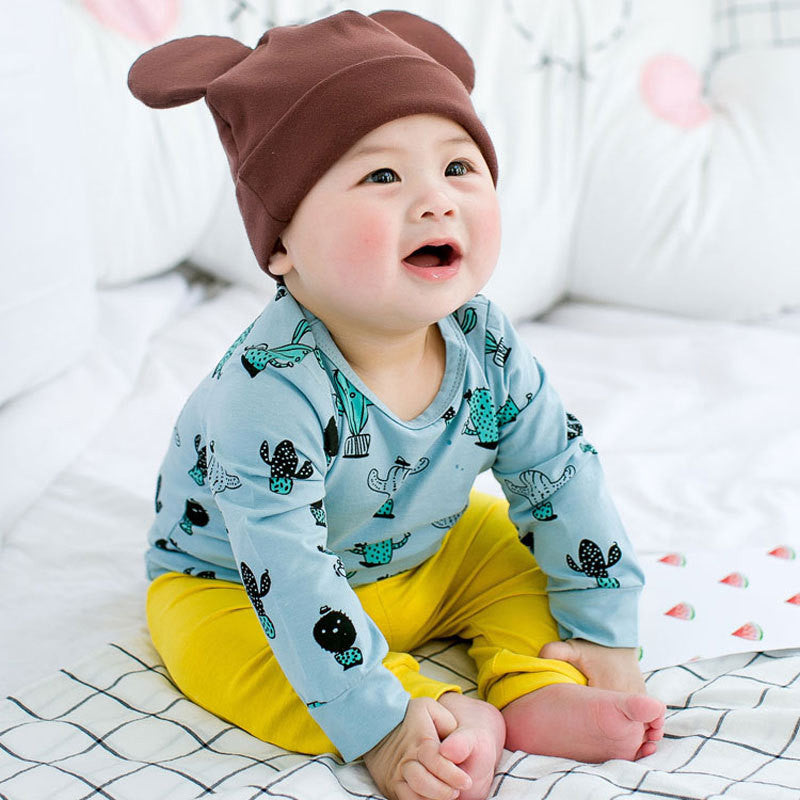 Cute Cactus Print Long Sleeved Baby's Tee - Blue