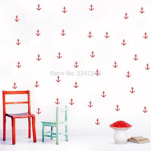 Red Anchor Decals for Nautical Decor - 36 Pieces