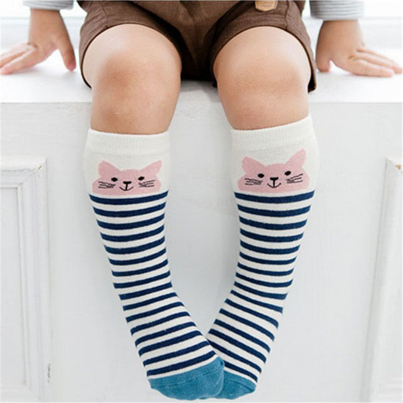Knee High Animal Print Socks - Blue Striped Mouse