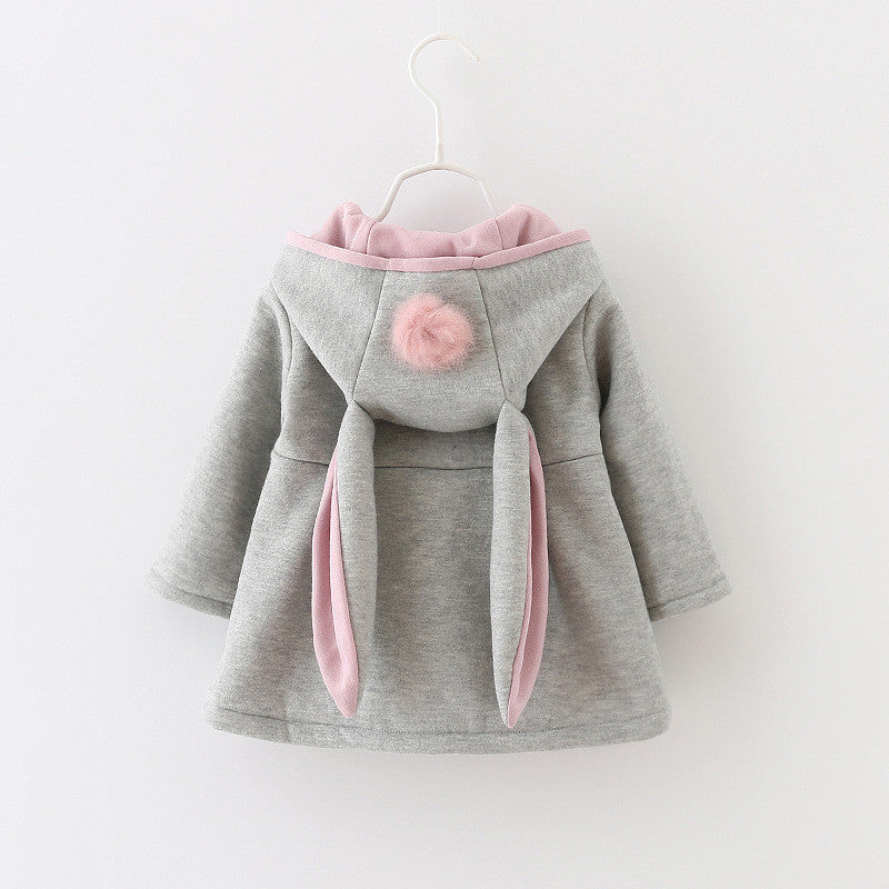 Hooded Pompom Cape with Bunny Ears - Grey with Pink Trim