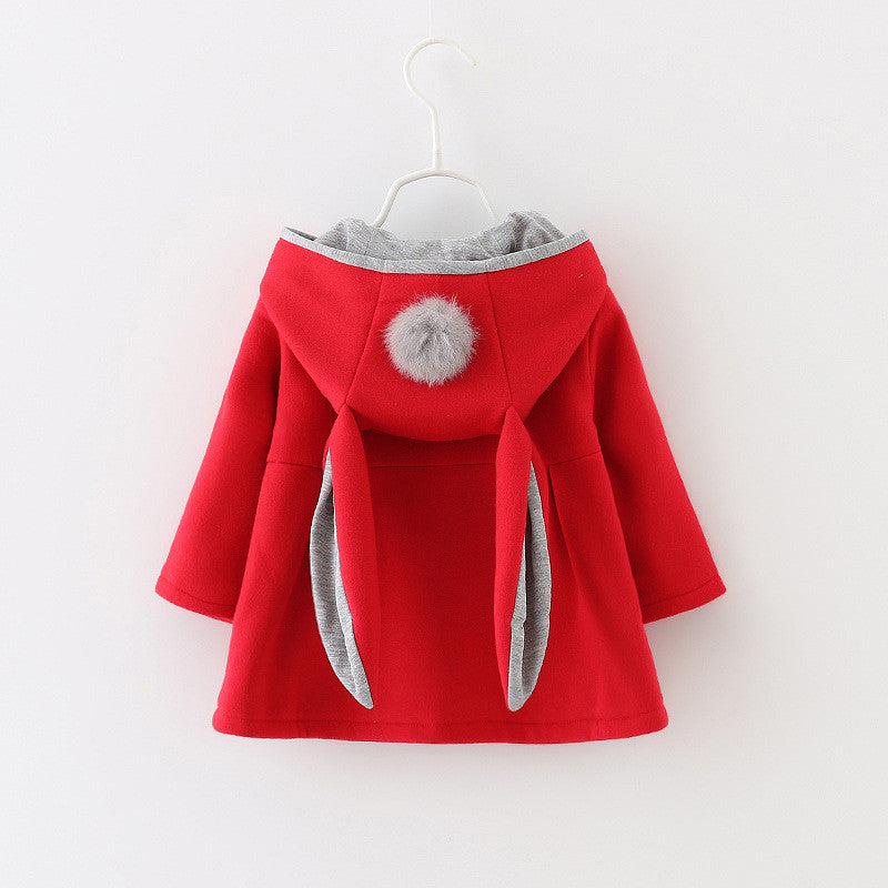 Hooded Pompom Cape with Bunny Ears - Red with Grey Trim