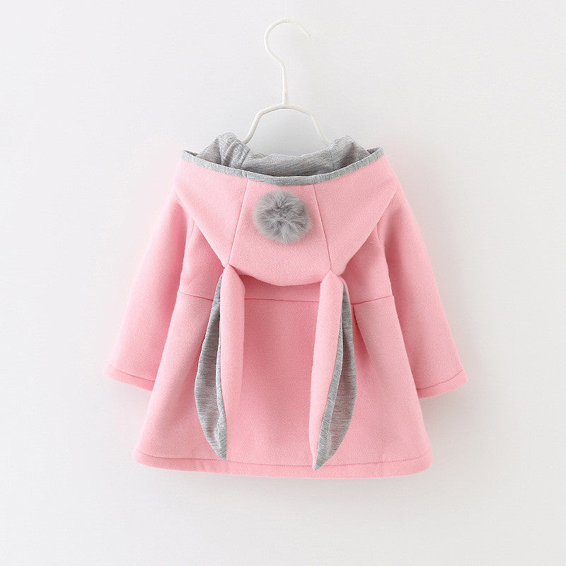 Hooded Pompom Cape with Bunny Ears - Pink with Grey Trim