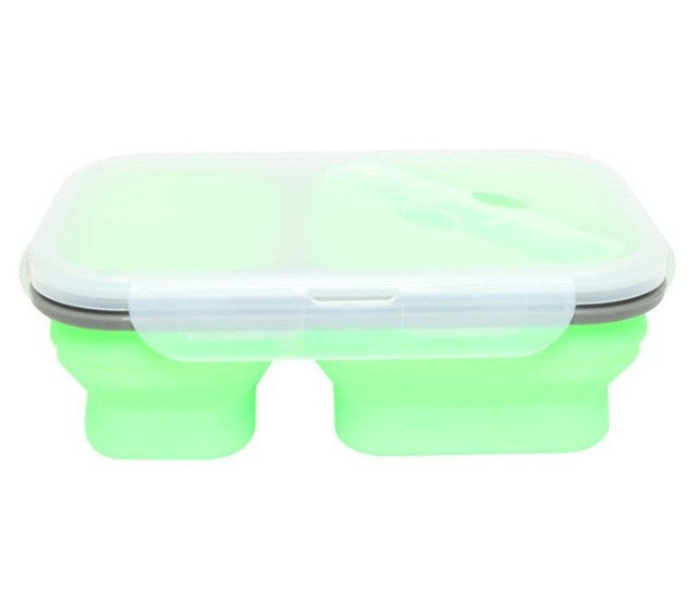 2 Compartment Silicone Collapsible Bento Lunch Box - Green