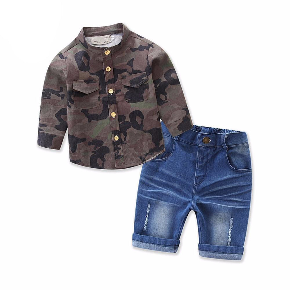 2017 Collection 2 Piece Outfit - Camo Print Shirt + Denim Shorts