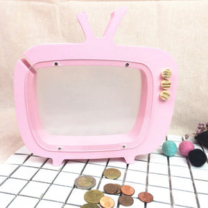 Designer Wooden Retro TV Moneybox - Pink