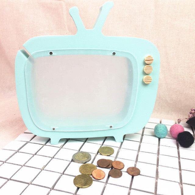Designer Wooden Retro TV Moneybox - Teal