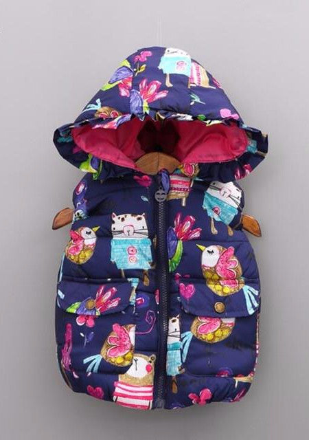 Frilly Hooded Puffer Vest with Hand Drawn Animal Print - Blue