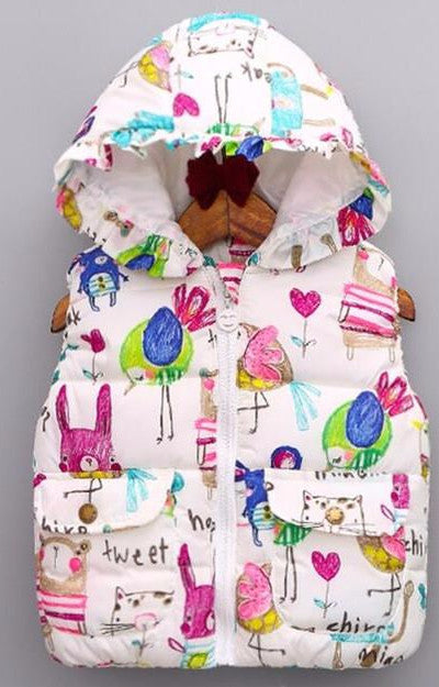 Frilly Hooded Puffer Vest with Hand Drawn Animal Print - White